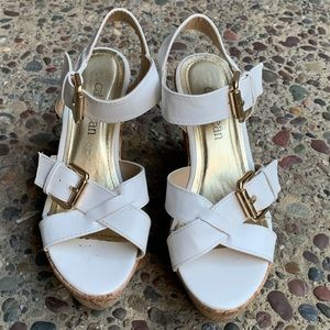 Cathy Jean wide strap wedges